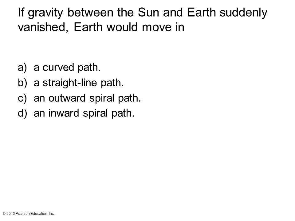 If gravity between the Sun and Earth suddenly vanished, Earth would move in