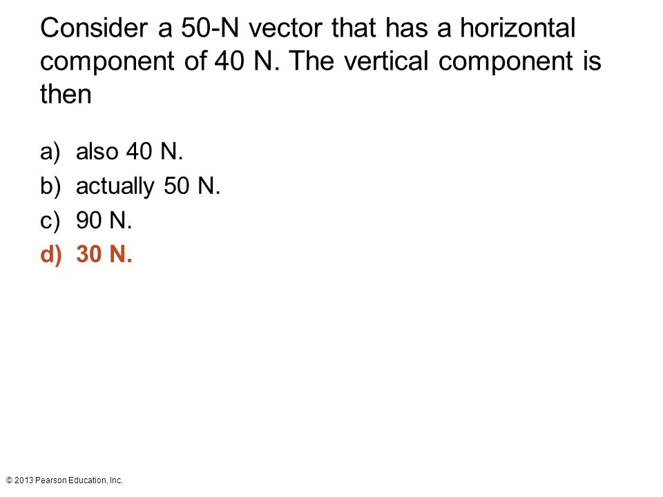 Consider a 50-N vector that has a horizontal component of 40 N