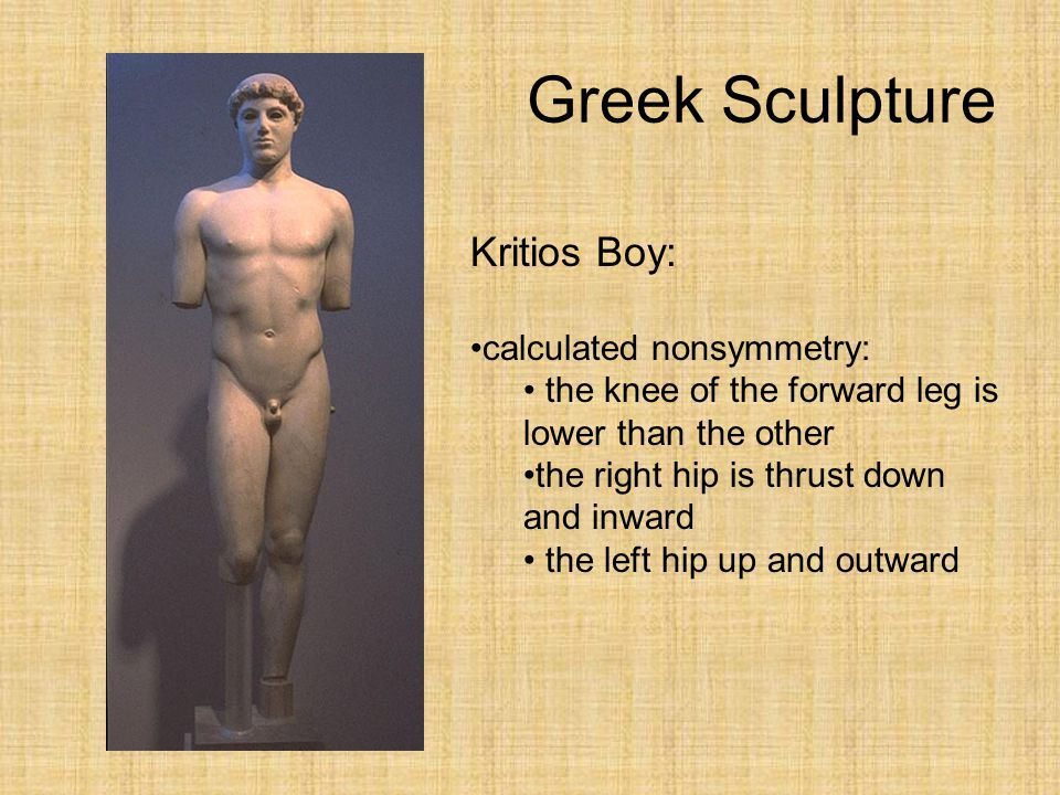 Greek Sculpture Kritios Boy: calculated nonsymmetry: