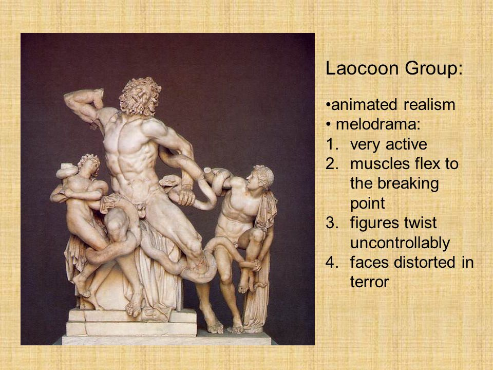 Greek Sculpture Laocoon Group: animated realism melodrama: very active
