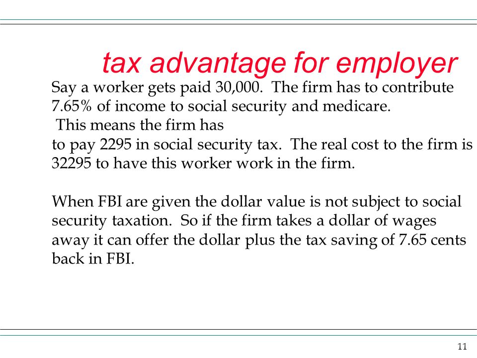 tax advantage for employer
