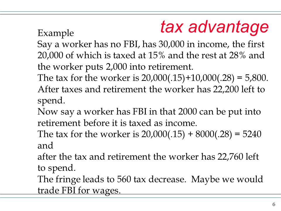 tax advantage Example. Say a worker has no FBI, has 30,000 in income, the first. 20,000 of which is taxed at 15% and the rest at 28% and.