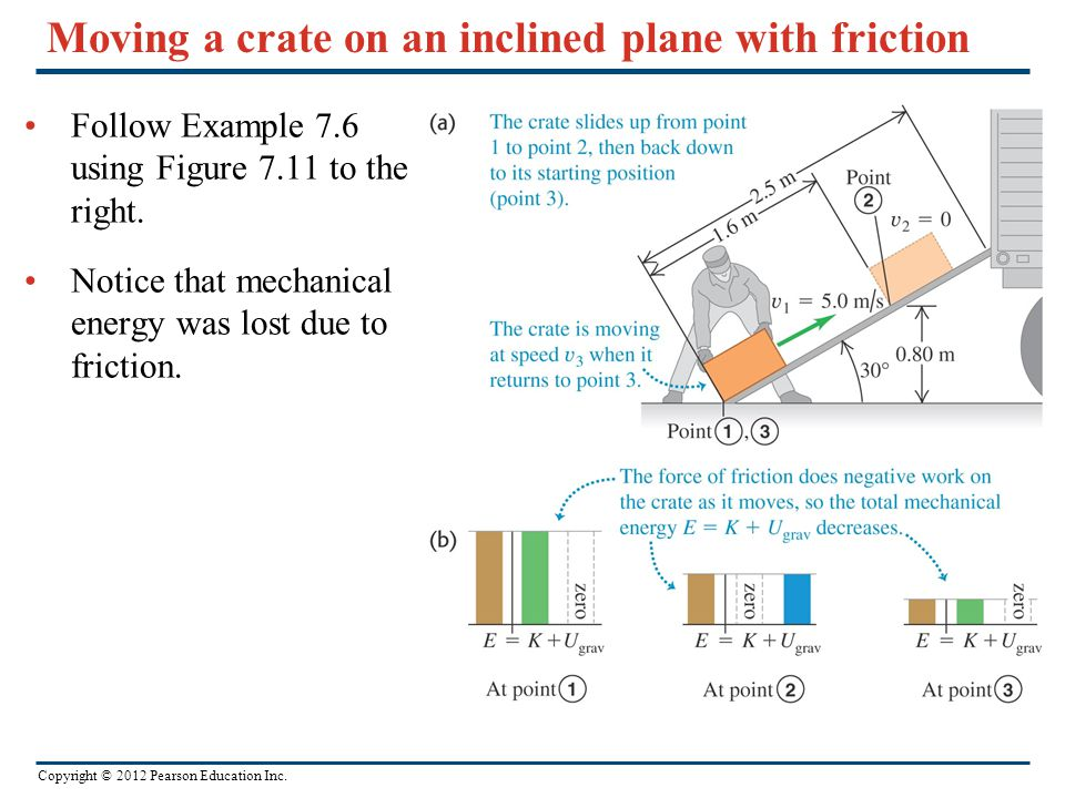 Moving a crate on an inclined plane with friction