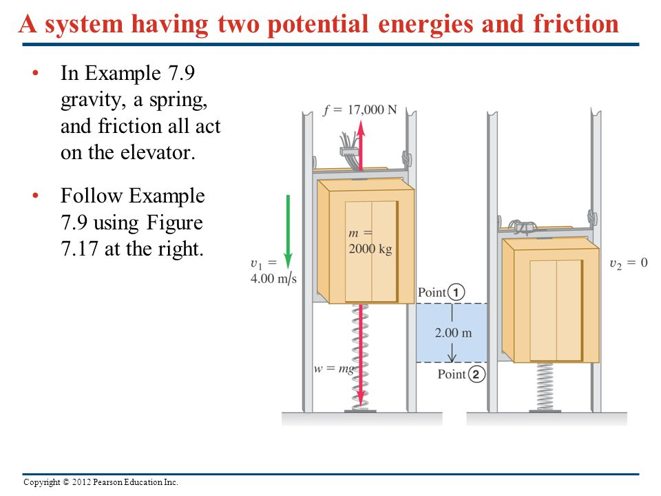 A system having two potential energies and friction