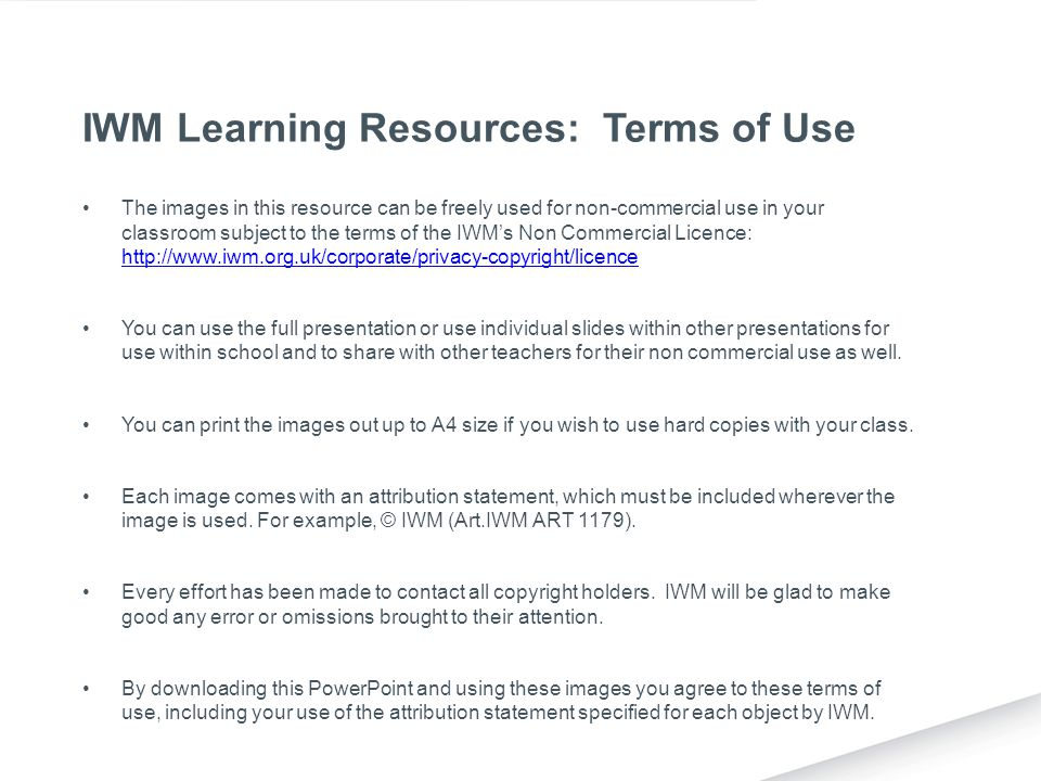 IWM Learning Resources: Terms of Use
