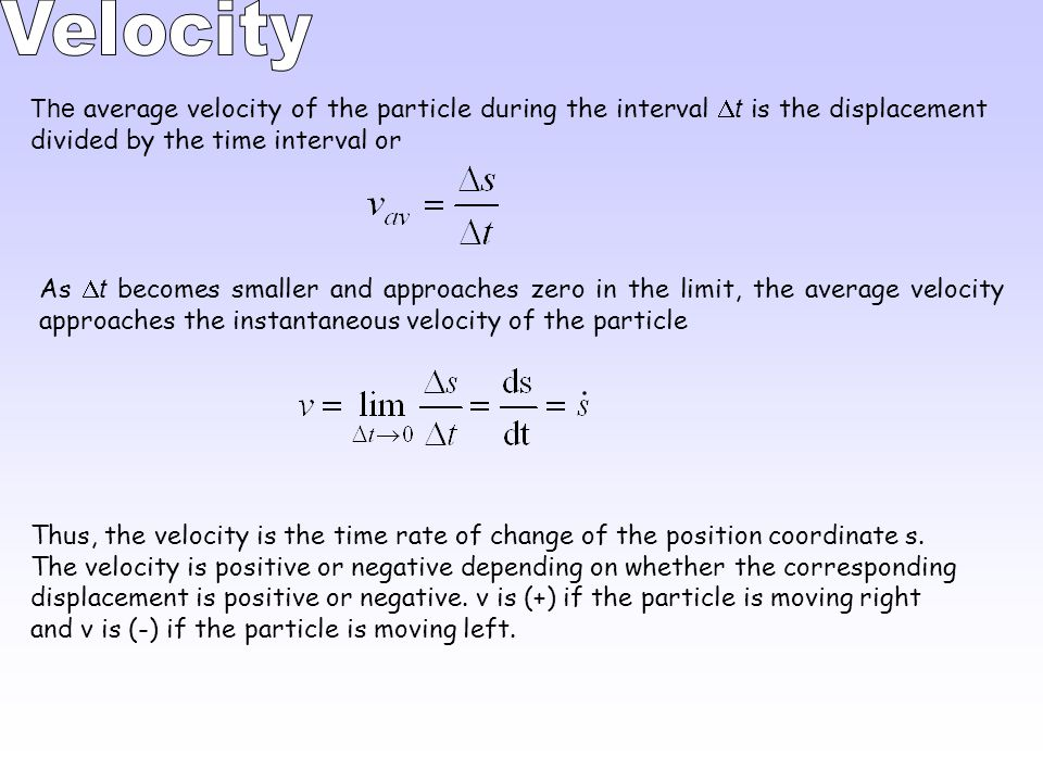 Velocity The average velocity of the particle during the interval Dt is the displacement divided by the time interval or.