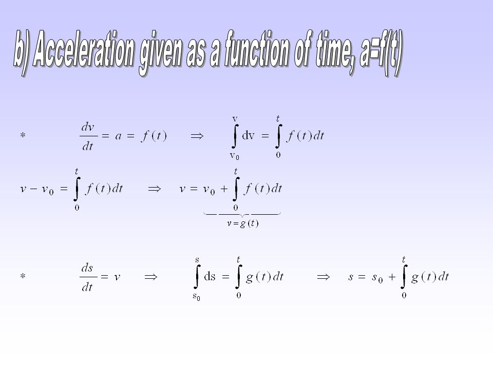 b) Acceleration given as a function of time, a=f(t)