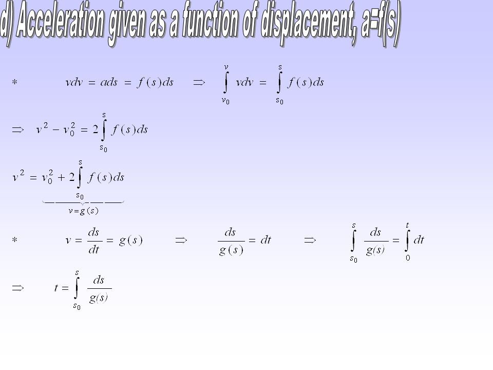 d) Acceleration given as a function of displacement, a=f(s)