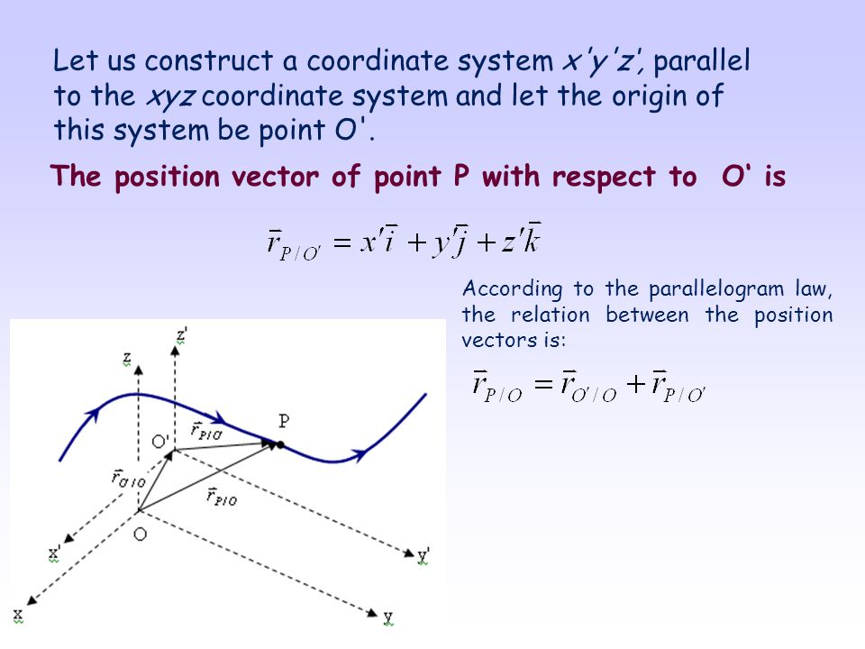 The position vector of point P with respect to O' is