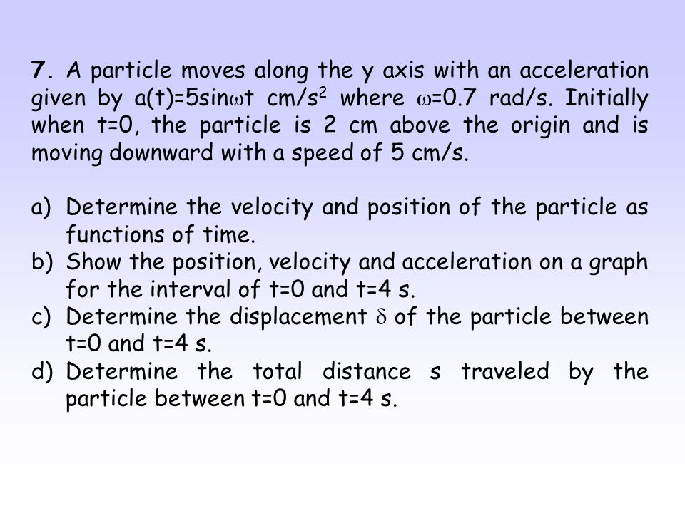 7. A particle moves along the y axis with an acceleration given by a(t)=5sinwt cm/s2 where w=0.7 rad/s. Initially when t=0, the particle is 2 cm above the origin and is moving downward with a speed of 5 cm/s.