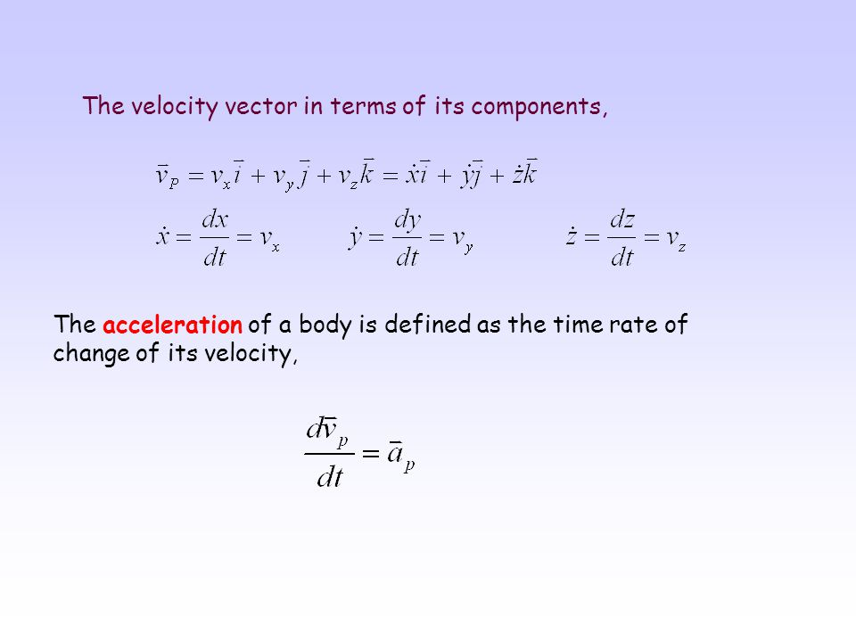 The velocity vector in terms of its components,