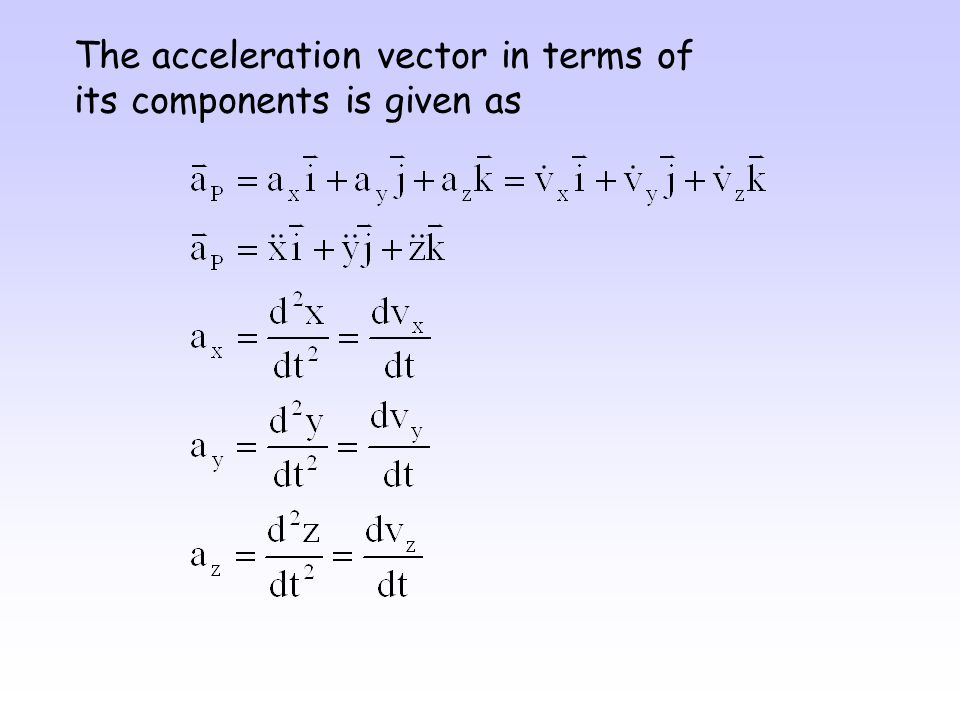 The acceleration vector in terms of