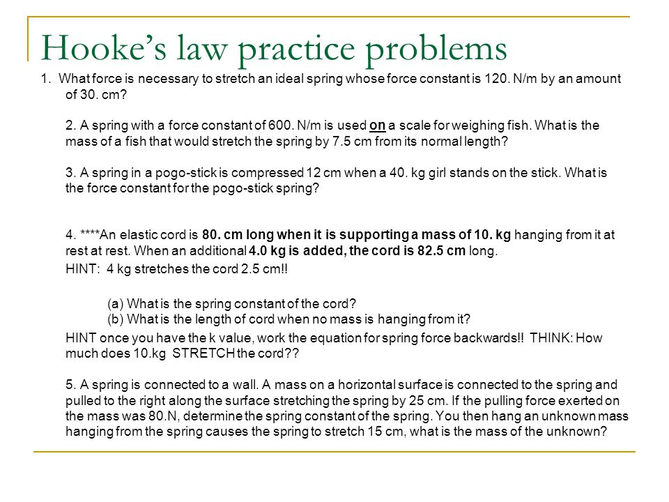 Hooke's law practice problems