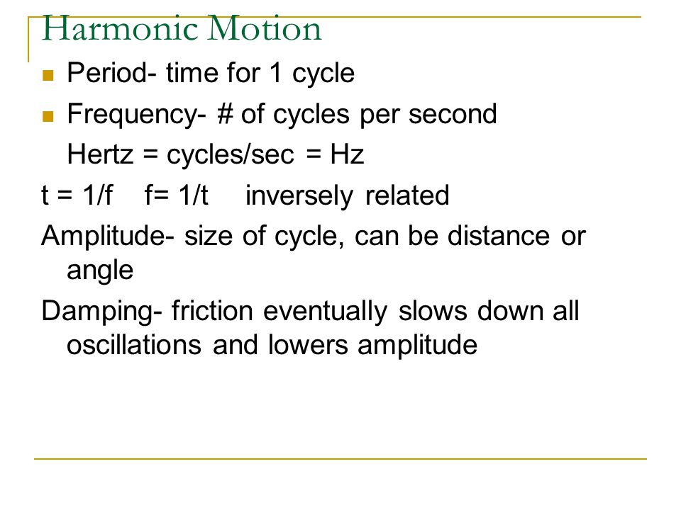 Harmonic Motion Period- time for 1 cycle