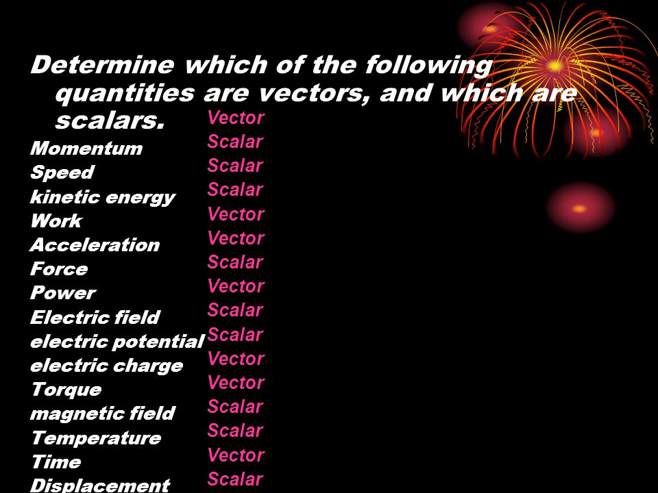 Vector Scalar. Determine which of the following quantities are vectors, and which are scalars. Momentum.