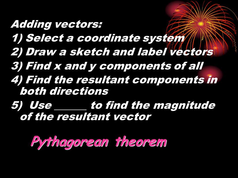 Pythagorean theorem Adding vectors: 1) Select a coordinate system