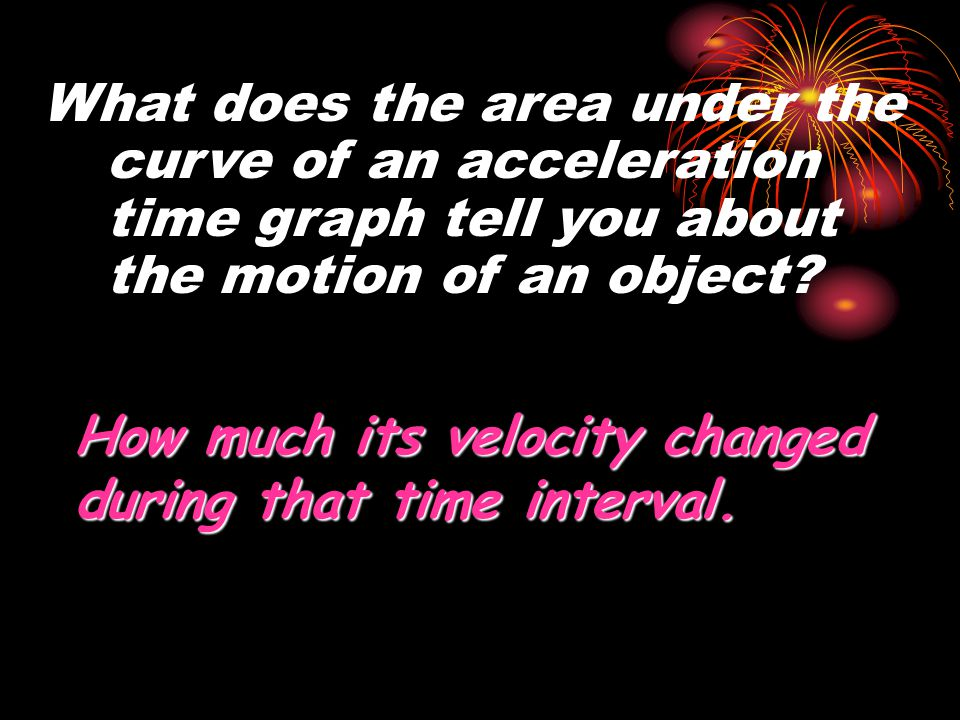 What does the area under the curve of an acceleration time graph tell you about the motion of an object