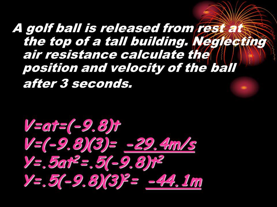V=at=(-9.8)t V=(-9.8)(3)= -29.4m/s Y=.5at2=.5(-9.8)t2