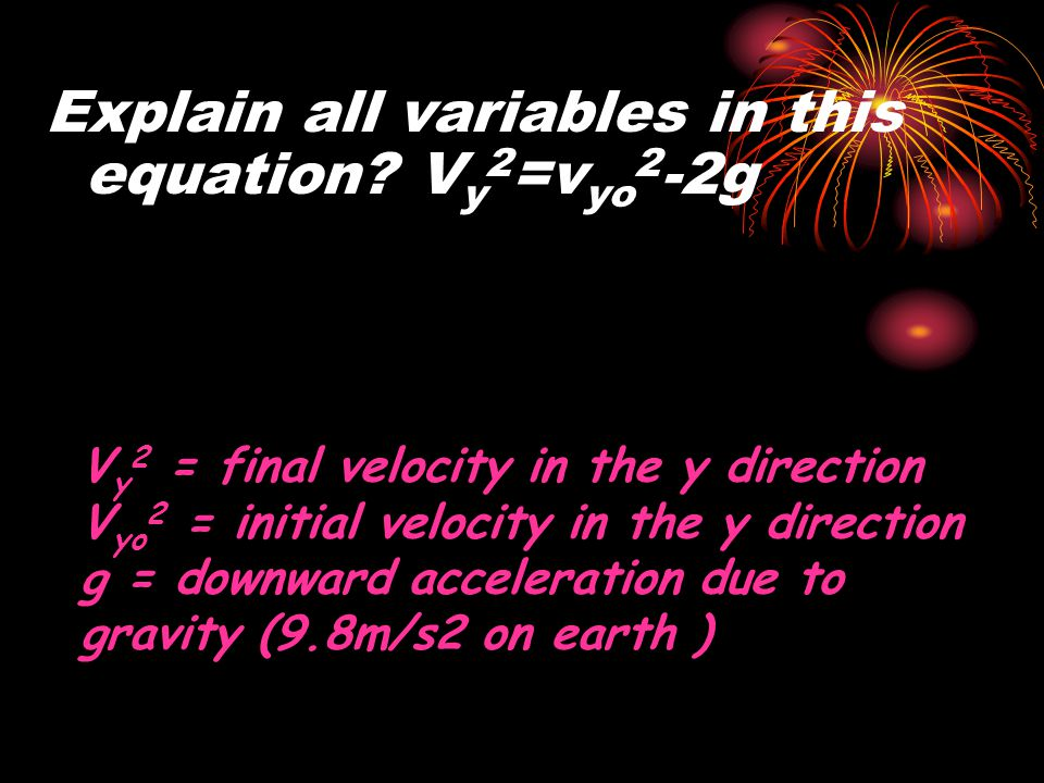 Explain all variables in this equation Vy2=vyo2-2g