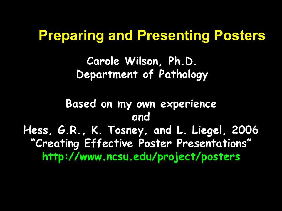 Preparing and Presenting Posters
