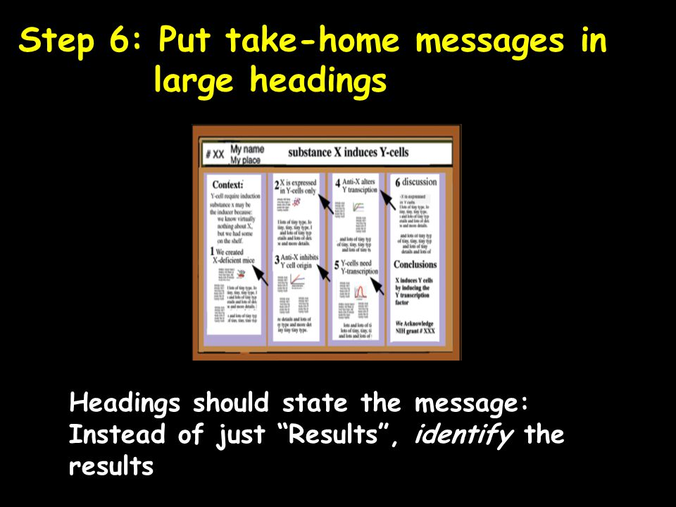 Step 6: Put take-home messages in large headings