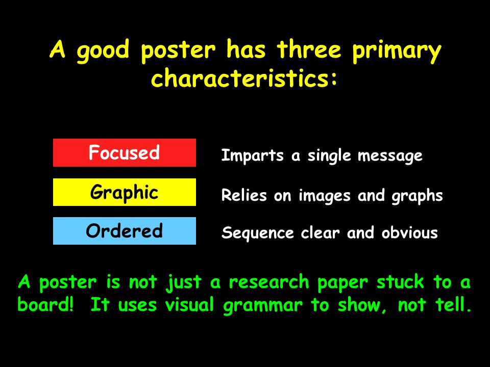 A good poster has three primary characteristics: