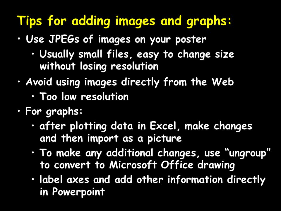 Tips for adding images and graphs:
