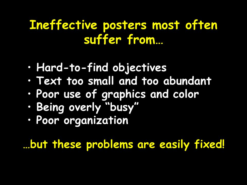 Ineffective posters most often suffer from…