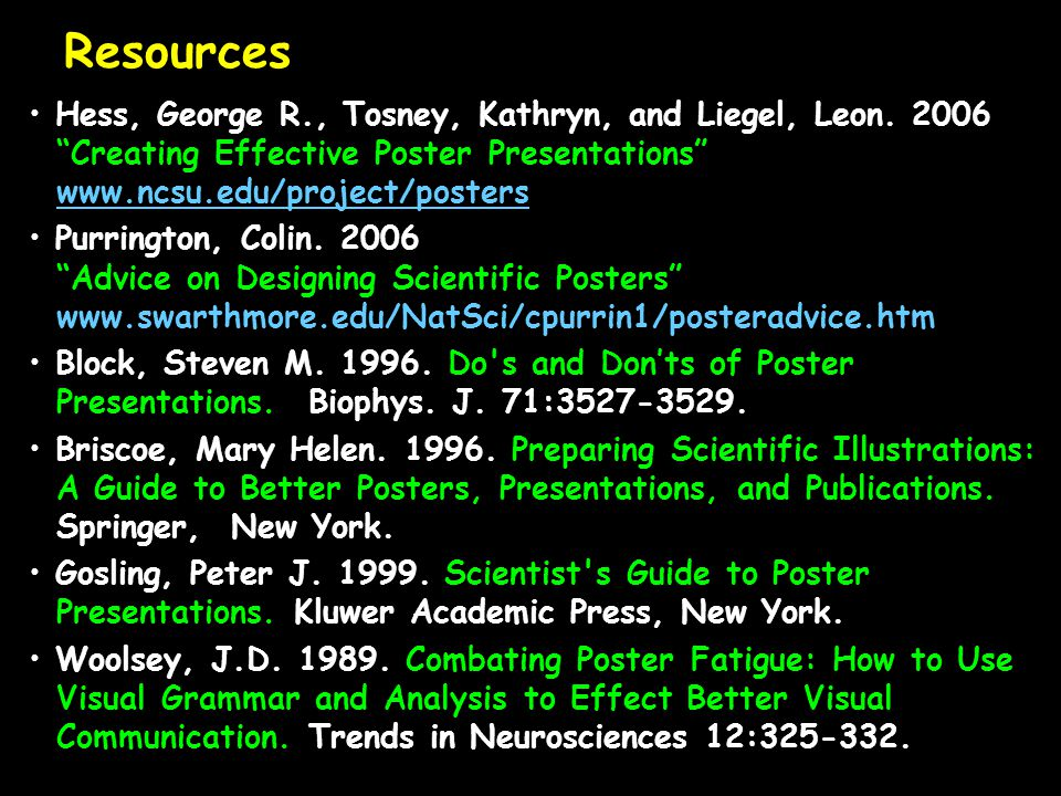 Resources Hess, George R., Tosney, Kathryn, and Liegel, Leon. 2006