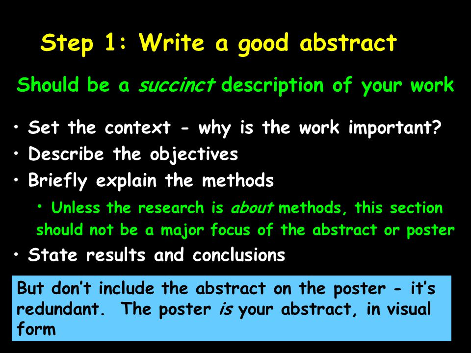 Step 1: Write a good abstract