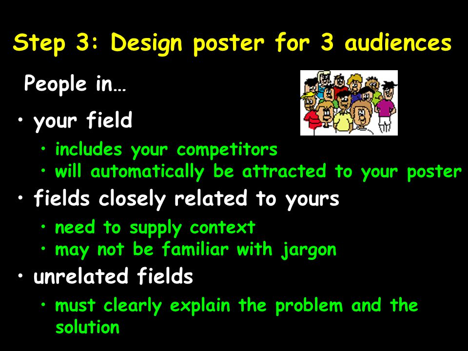 Step 3: Design poster for 3 audiences