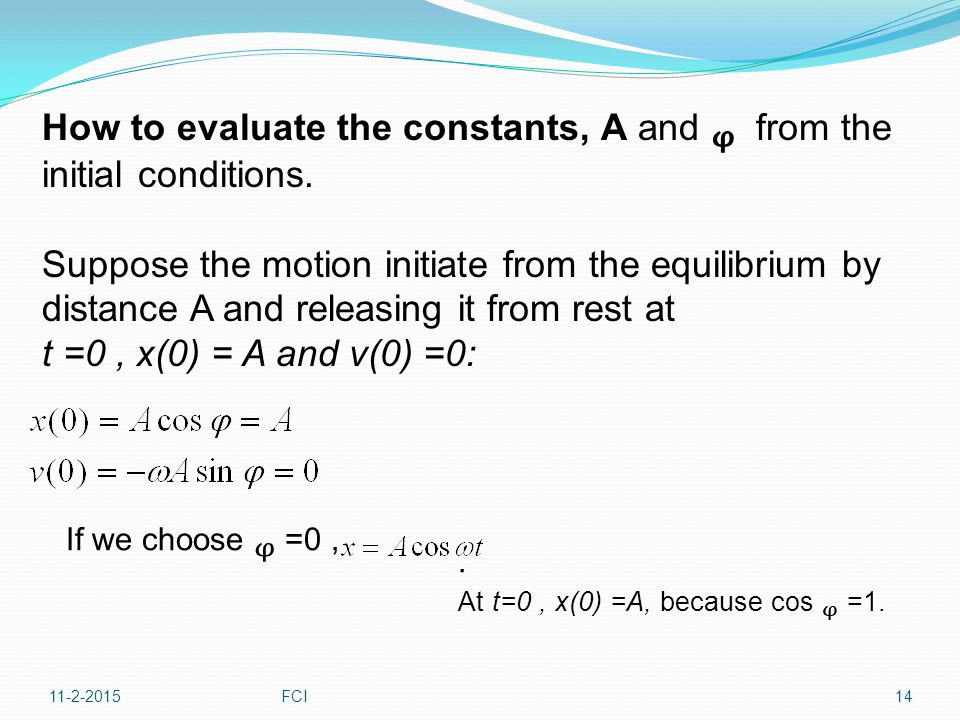 How to evaluate the constants, A and ᵩ from the initial conditions.