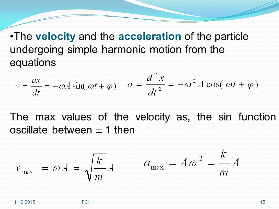 The velocity and the acceleration of the particle undergoing simple harmonic motion from the equations