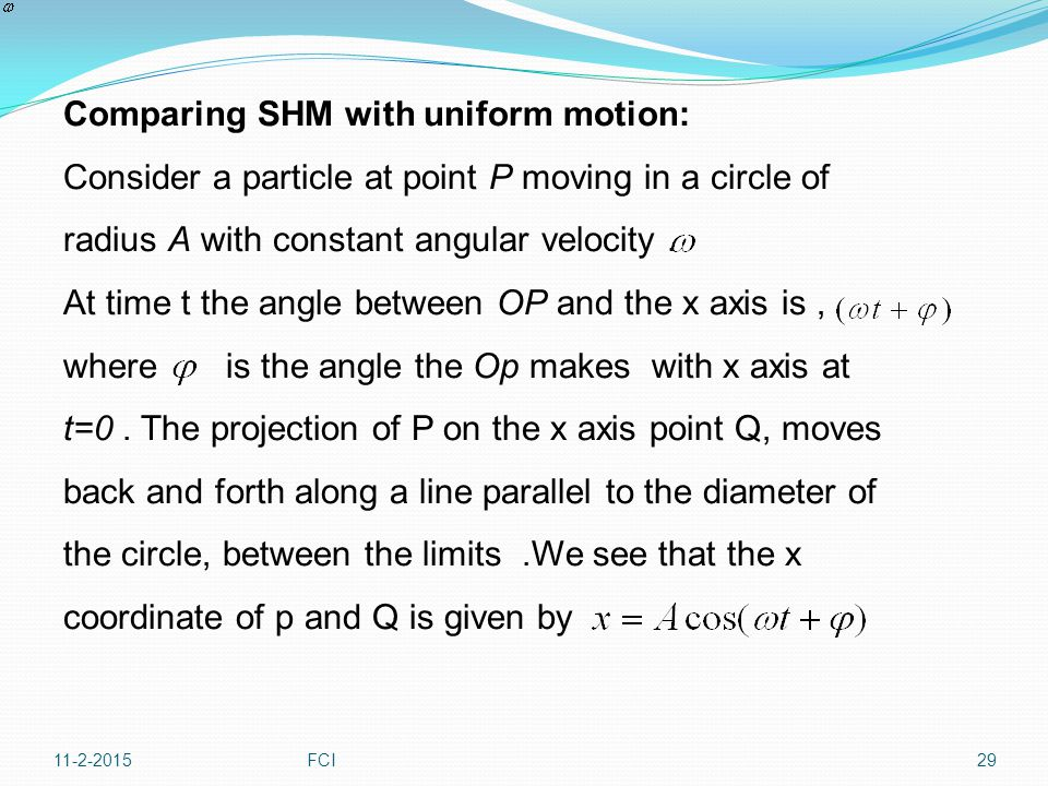 Comparing SHM with uniform motion:
