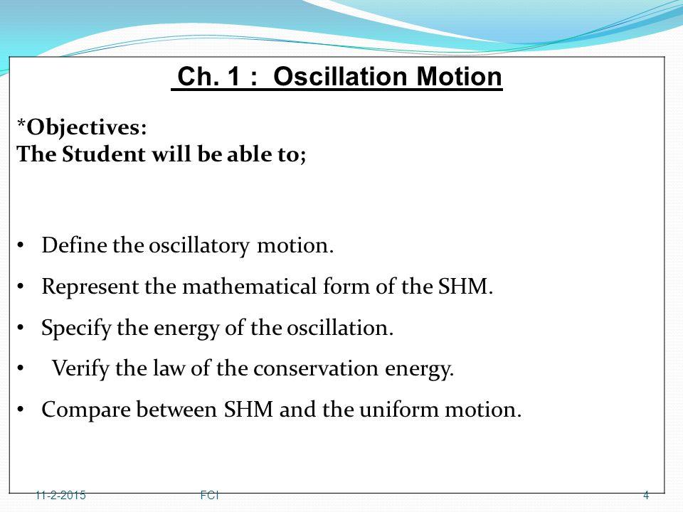 Ch. 1 : Oscillation Motion