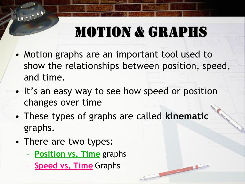 Motion & Graphs Motion graphs are an important tool used to show the relationships between position, speed, and time.