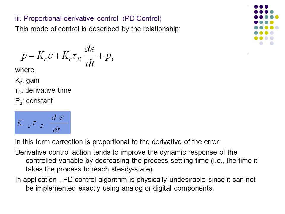 iii. Proportional-derivative control (PD Control)