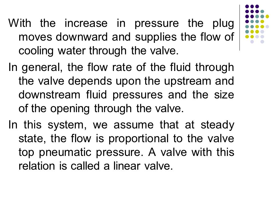 With the increase in pressure the plug moves downward and supplies the flow of cooling water through the valve.