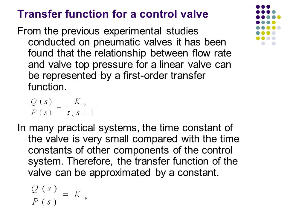 Transfer function for a control valve