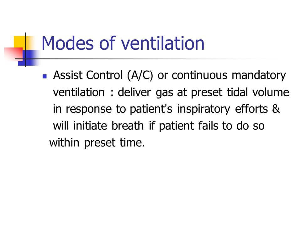 Modes of ventilation Assist Control (A/C( or continuous mandatory