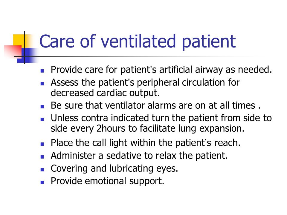 Care of ventilated patient