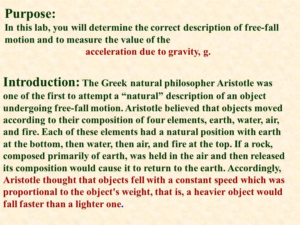acceleration due to gravity, g.