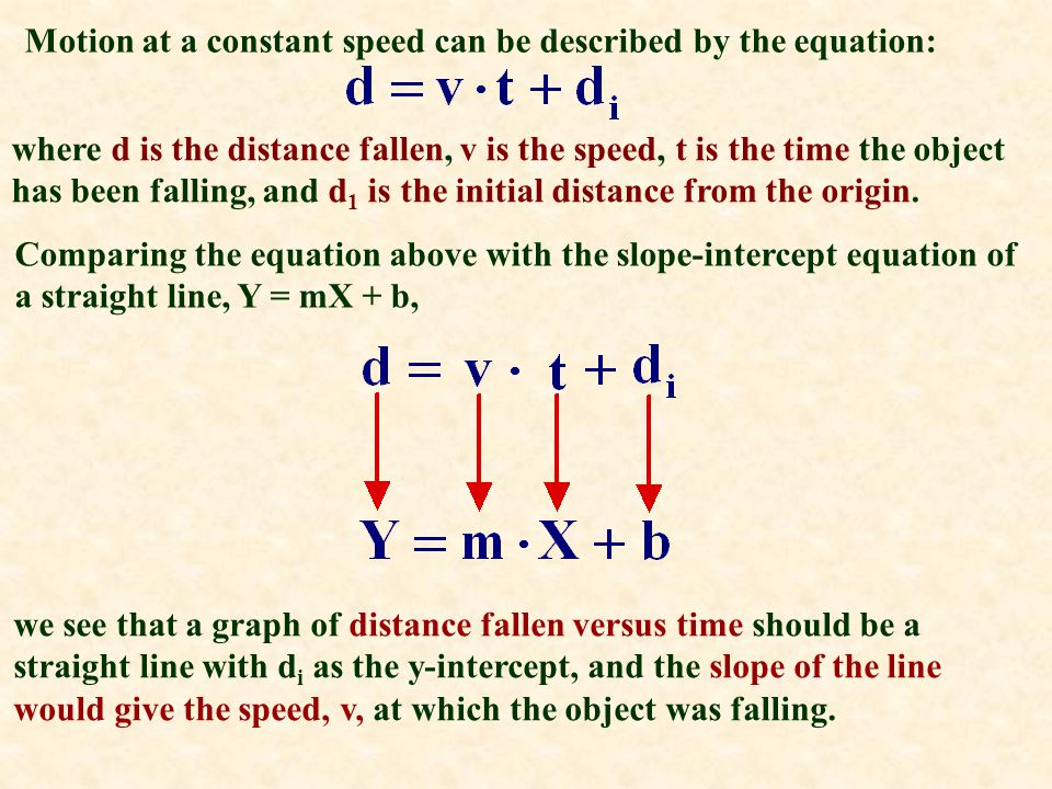 Motion at a constant speed can be described by the equation: