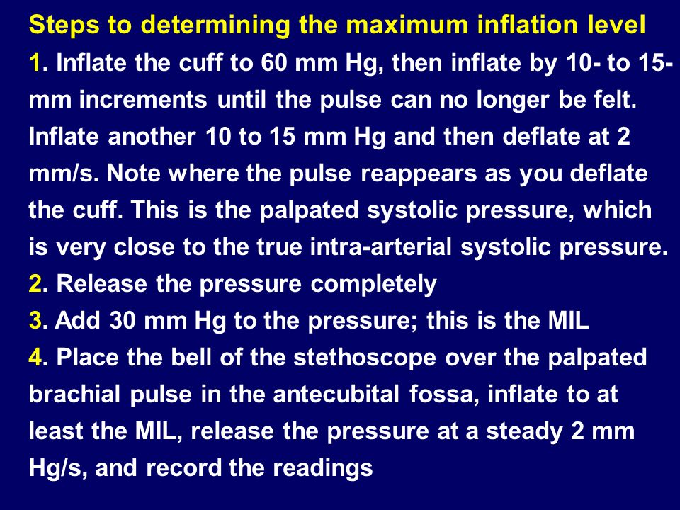 Steps to determining the maximum inflation level