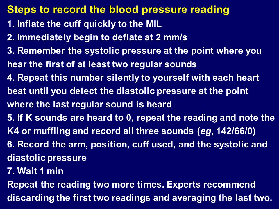 Steps to record the blood pressure reading