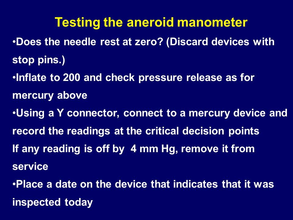 Testing the aneroid manometer