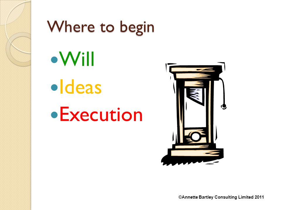 Where to begin Will Ideas Execution