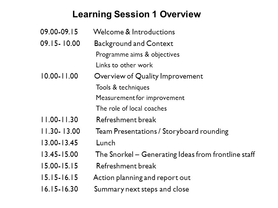 Learning Session 1 Overview
