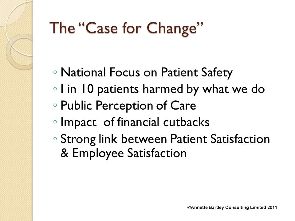 The Case for Change National Focus on Patient Safety