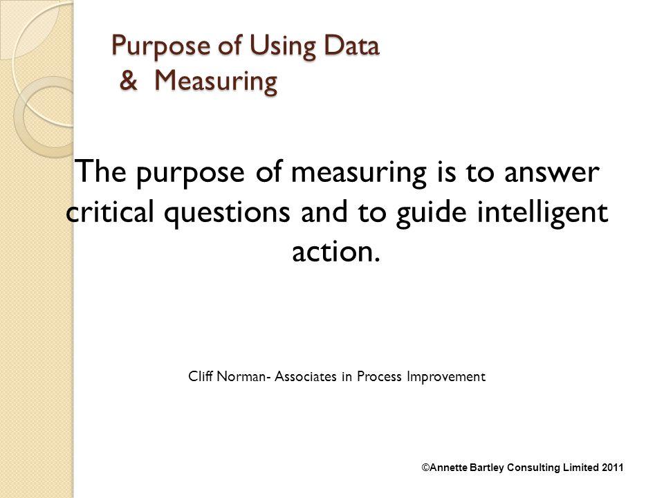 Purpose of Using Data & Measuring